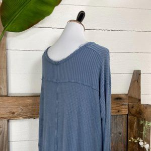Free People Tops - SOLD.  Free People Raw Hem Waffle Weave V Neck LS
